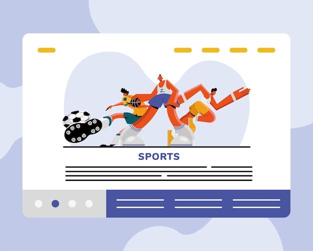 Sportowcy płci męskiej uprawiający piłkę nożną i bieganie postaci sportowych ilustracji projekt