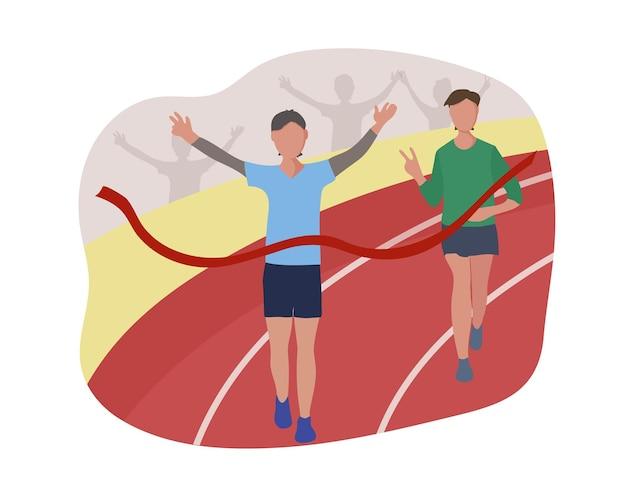 Sportowcy przekraczają linię mety przez czerwoną wstążkę. zawody biegowe, dystans maratonu lub bieganie sportowe na stadionie. zwycięzcą zostaje biegacz. płaskie ilustracji wektorowych.