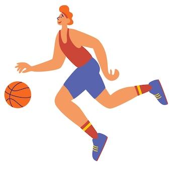 Sportowcy trenujący z piłką. młody człowiek wykwalifikowanych sportowców w mundurze działa, grając w piłkę nożną. zawody sportowe, hobby, aktywność na świeżym powietrzu. aktywny facet uprawiający sport. ilustracja wektorowa