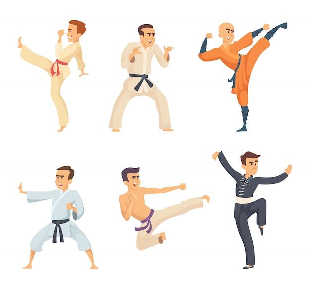 Sportowcy w pozach akcji. postaci z kreskówek na białym tle. wektor sztuki walki, ilustracja karate i wojownik walki