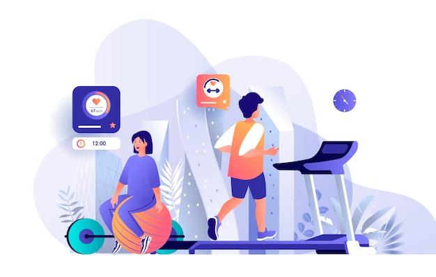 Sportowcy w siłowni fitness ilustracja postaci znaków w koncepcji płaskiej konstrukcji