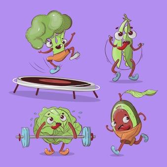 Sportowcy warzywa sport kreskówka komiks zdrowie odżywianie ręcznie rysowane
