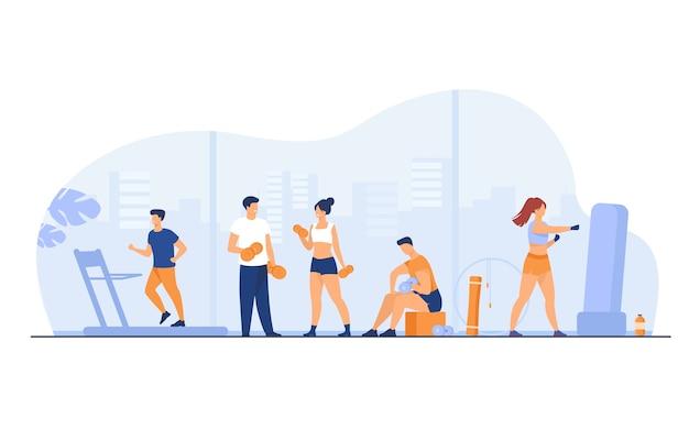 Sportowcy wykonujący ćwiczenia fitness w siłowni z panoramicznymi oknami na białym tle ilustracji wektorowych płaski. kreskówka ludzie trening cardio i podnoszenie ciężarów.
