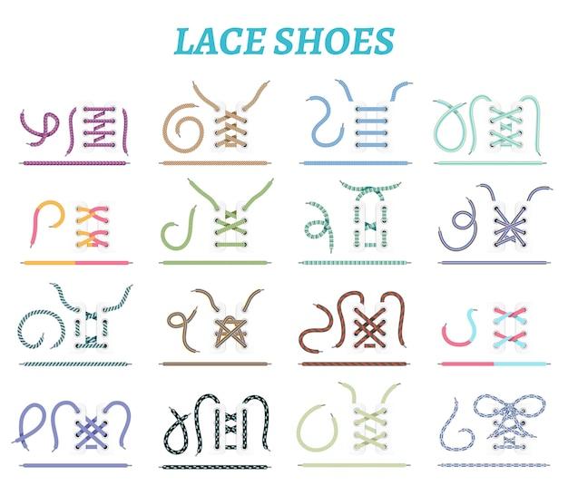 Sportowe buty, sneakersy i techniki sznurowania butów kolekcja 16 ikon dla szerokich wąskich stóp na białym tle