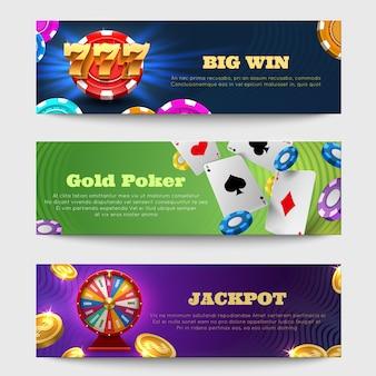 Sportowe hazardu banery z maszyny loterii, koła fortuny złote monety pieniądze wektor zestaw. sztandar szczęścia w kasynie