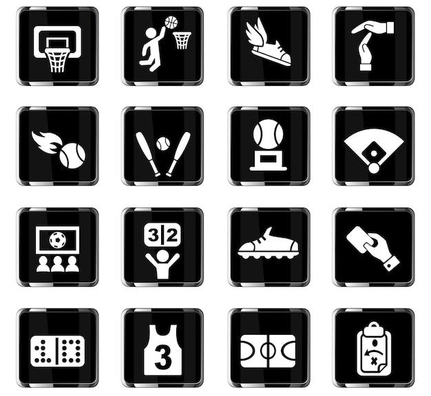 Sportowe ikony internetowe do projektowania interfejsu użytkownika