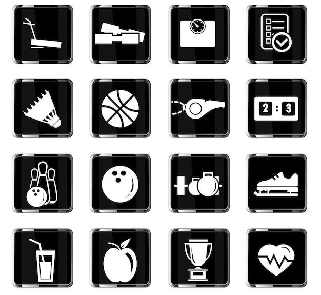 Sportowe ikony wektorowe do projektowania interfejsu użytkownika