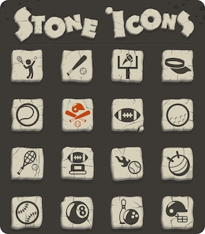 Sportowe ikony wektorowe na kamiennych blokach w stylu epoki kamienia do projektowania stron internetowych i interfejsu użytkownika