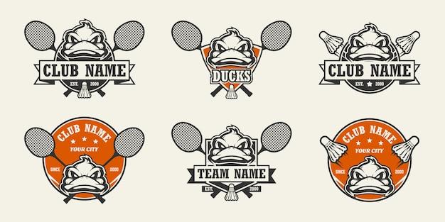 Sportowe logo z głową kaczki. zestaw logo badmintona.