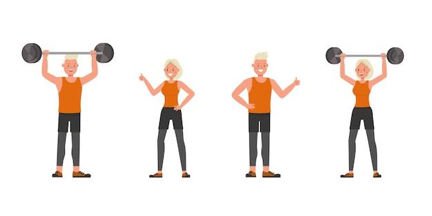 Sportowe mężczyzna i kobieta charakter wektor wzór. prezentacja w różnych akcjach. nie2