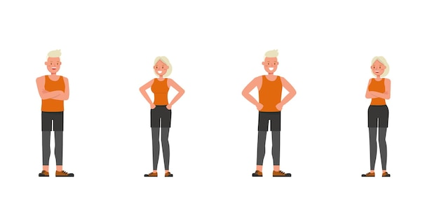 Sportowe mężczyzna i kobieta charakter wektor wzór. prezentacja w różnych akcjach.