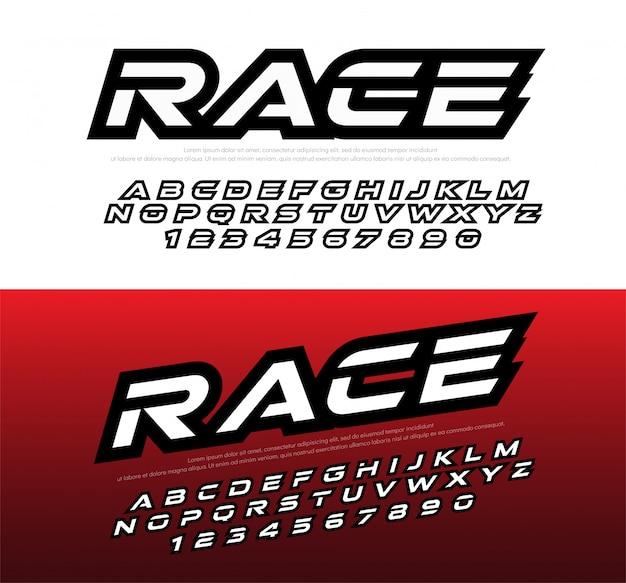 Sportowe nowoczesne czcionki alfabetu i liczb. typografia wyścigowa