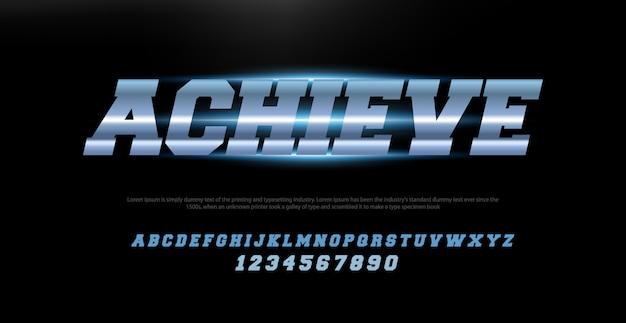 Sportowe nowoczesne typografii czcionki kursywą alfabetu i zestaw liczb