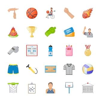 Sportowe płaskie wektorowe ikony
