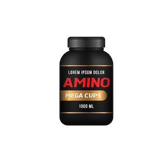 Sportowe pojemniki żywieniowe realistyczna czarna butelka z wektorem baneru reklamowego żywności sportowej białka