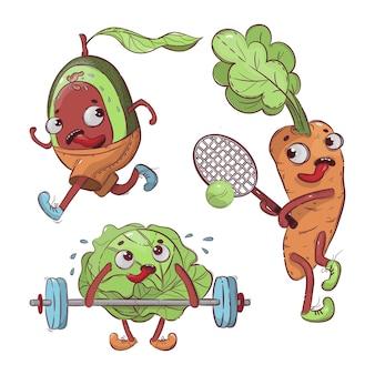 Sportowe warzywa cartoon zdrowie odżywianie ręcznie rysowane t-shirt ilustracja zestaw do druku