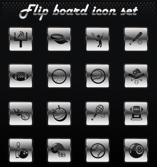 Sportowe wektorowe ikony mechaniczne do projektowania interfejsu użytkownika