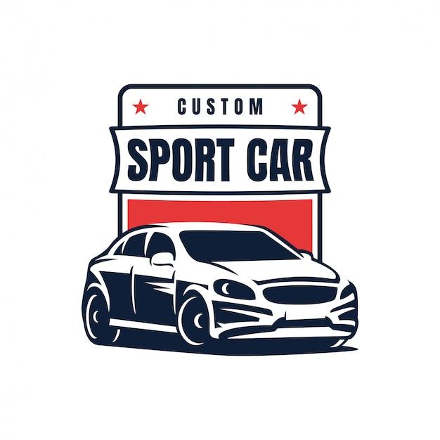 Sportowego samochodu odznaki loga projekta wektoru ilustracja