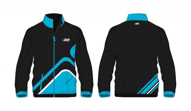 Sportowej kurtki błękitny i czarny szablon dla projekta na białym tle. wektorowa ilustracja eps 10.