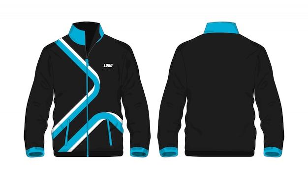 Sportowej kurtki błękitny i czarny szablon dla projekta na białym tle.