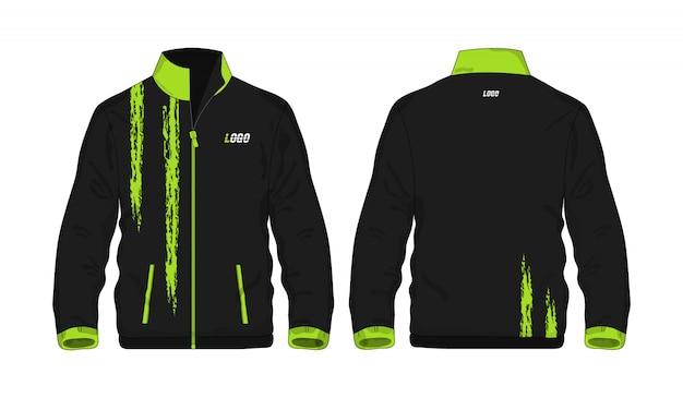 Sportowej kurtki zielony i czarny szablon dla projekta na białym tle. wektorowa ilustracja eps 10.
