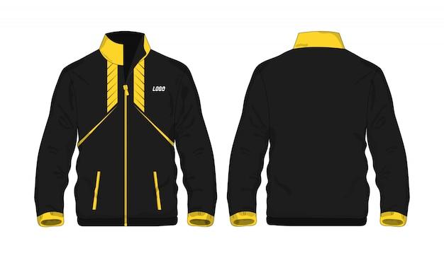 Sportowej kurtki żółty i czarny szablon dla projekta na białym tle.