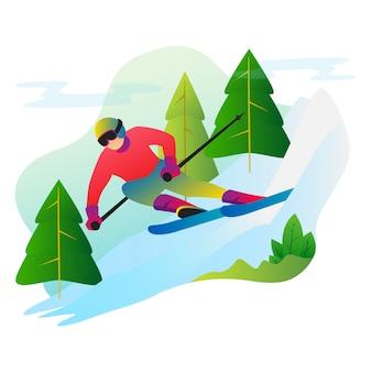 Sportowiec baw się zimą na snowboardzie.