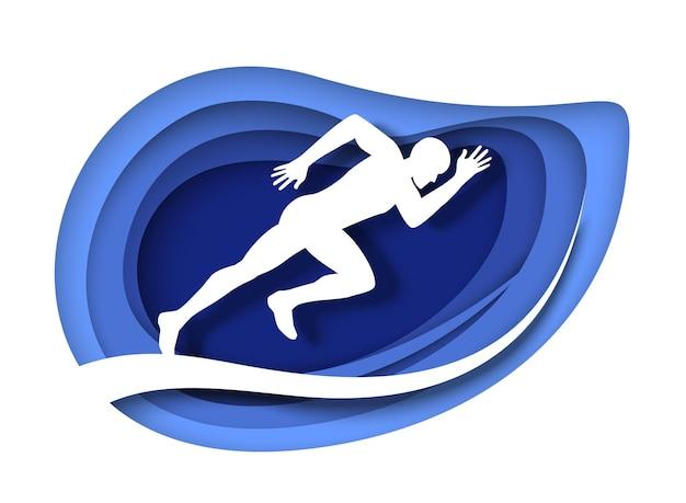 Sportowiec biegacz sylwetka wektor wycięty z papieru ilustracja sprint bieganie długodystansowy bieg maratoński...