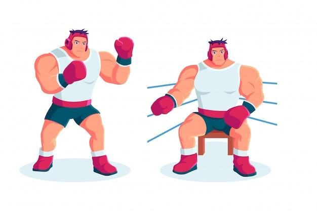 Sportowiec boks postać w stylu cartoon
