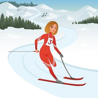 Sportowiec dziewczyna biorąc udział w zawodach narciarskich