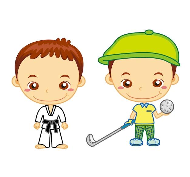 Sportowiec judo i golfista na białym tle. seria dla dzieci i sportu