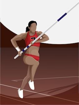 Sportowiec kobieta z biegu skoku na brązowym i białym tle.