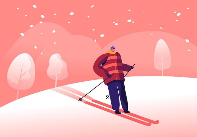 Sportowiec mężczyzna w ciepłej odzieży, kasku i okularach przeciwsłonecznych na nartach. narciarz na zjazdach w sezonie zimowym. płaskie ilustracja kreskówka