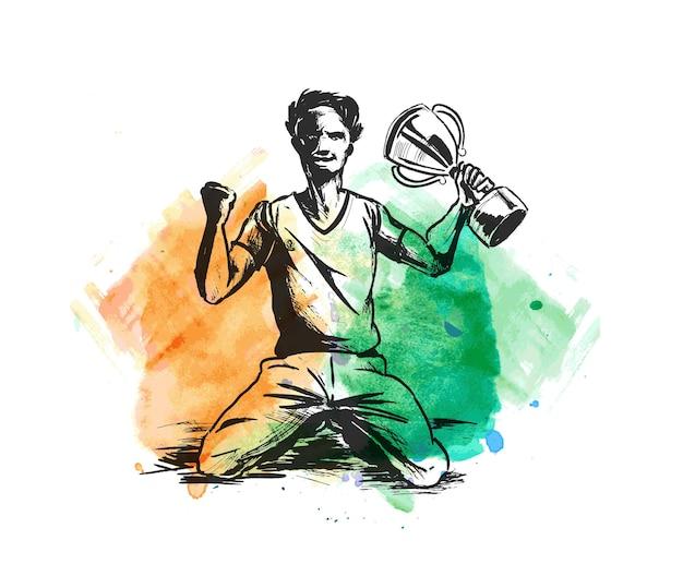 Sportowiec siedzi z pucharem zwycięstwa w ręku na stadionie trawa ręcznie rysowane szkic ilustracji wektorowych