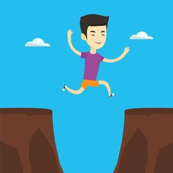 Sportowiec skacze nad faleza wektoru ilustracją