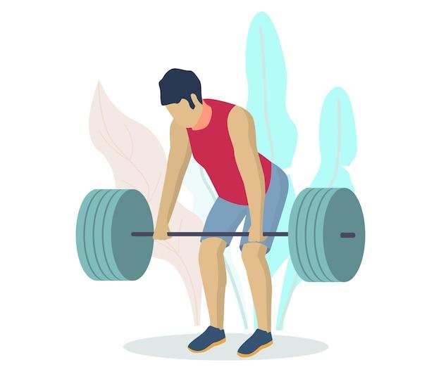 Sportowiec, sportowiec, kulturysta podnoszenia sztangi, płaskie wektor ilustracja. trening kulturystyki siłowni fitness. podnoszenie ciężarów, sporty trójbojowe.