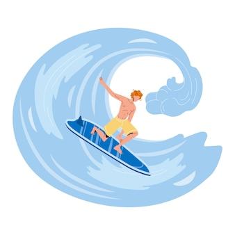 Sportowiec surfer surfuje na wysokiej fali oceanu