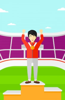 Sportowiec z podniesionym medalem i rękami.