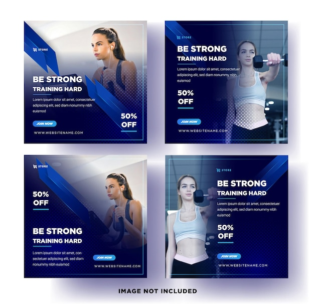 Sportowy baner mediów społecznościowych. gym fitness