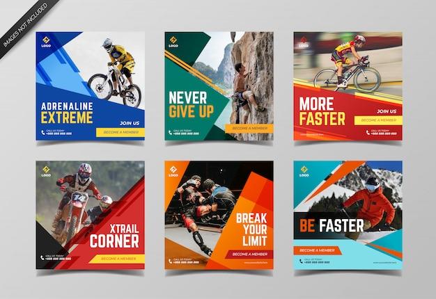 Sportowy baner społecznościowy do posta na instagramie i marketingu cyfrowego