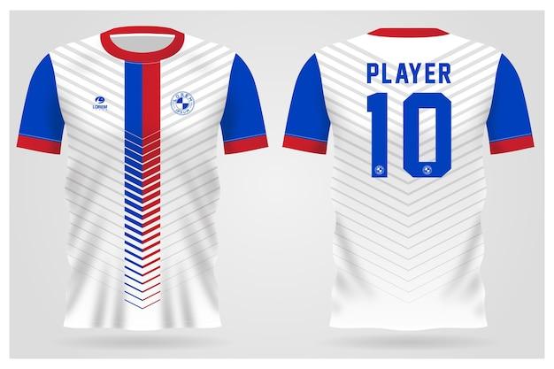 Sportowy czerwony niebieski minimalistyczny szablon koszulki do strojów drużynowych i projektu koszulki piłkarskiej