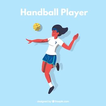 Sportowy gracz piłki ręcznej z płaskim projektem