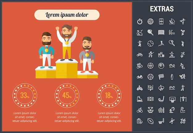 Sportowy infographic szablon, elementy i ikony