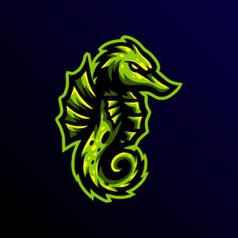 Sportowy logo maskotki konika morskiego