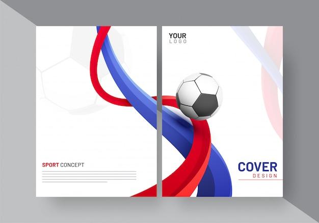 Sportowy lub piłkarski newsletter projekt okładki z fal i piłki nożnej, miejsca na tekst.