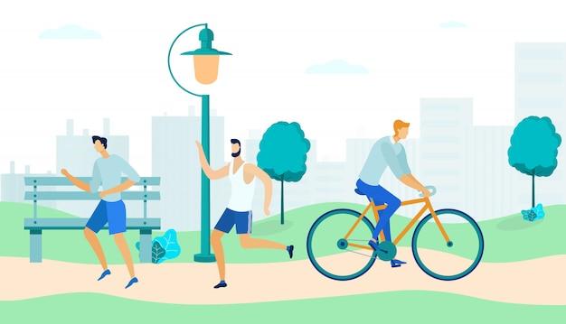 Sportowy ludzi w parku flat
