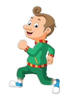 Sportowy mężczyzna biega po ilustracji