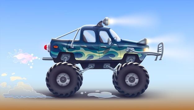 Sportowy pickup terenowy z dużymi kołami, reflektorami i mocnymi amortyzatorami zderzaka