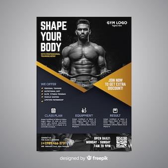 Sportowy plakatowy szablon z fotografią