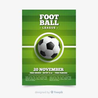 Sportowy plakatowy szablon z futbolową piłką